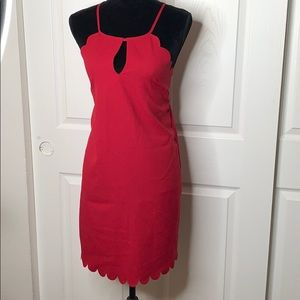Shein   Scalloped Edge   Red   Party Dress